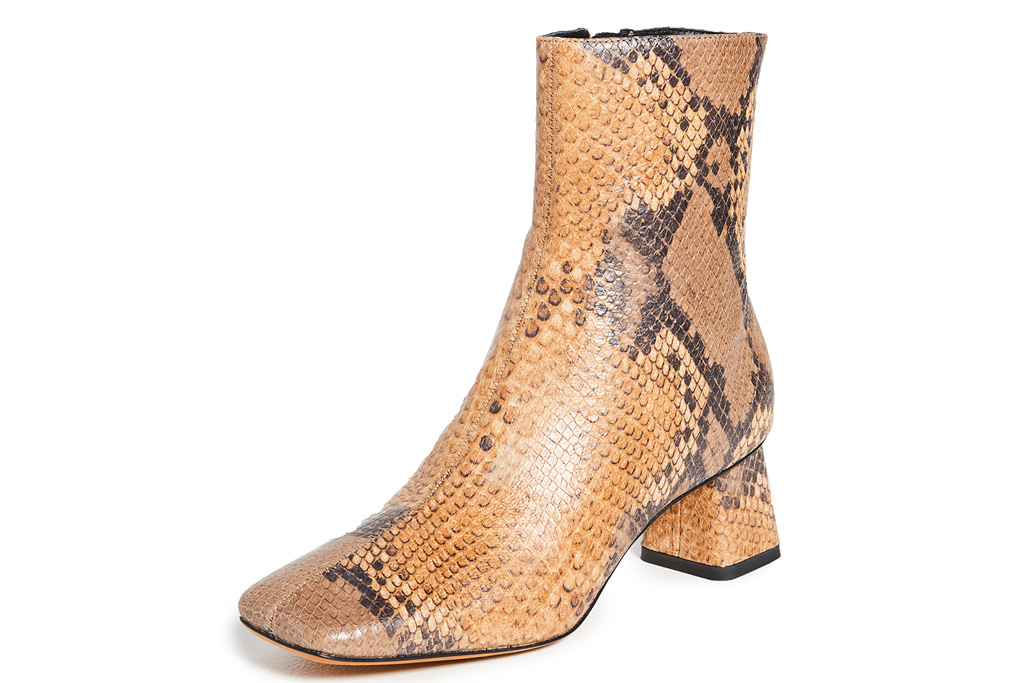 snakeskin boots, square toe, vince