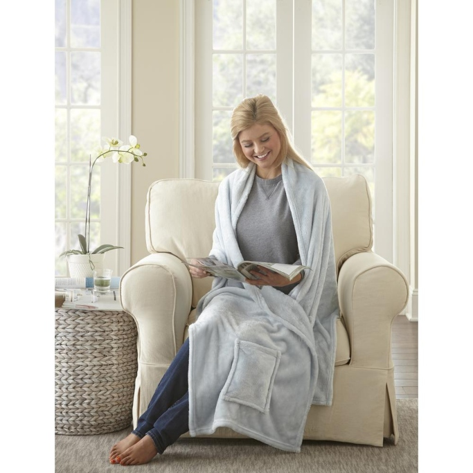 MHF Home Reader's Wrap Shawl Throw Blanket with Pockets, wearable blankets