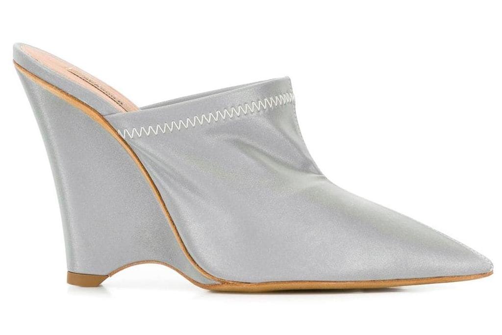 wedges, heels, reflective, metallic mules, yeezy