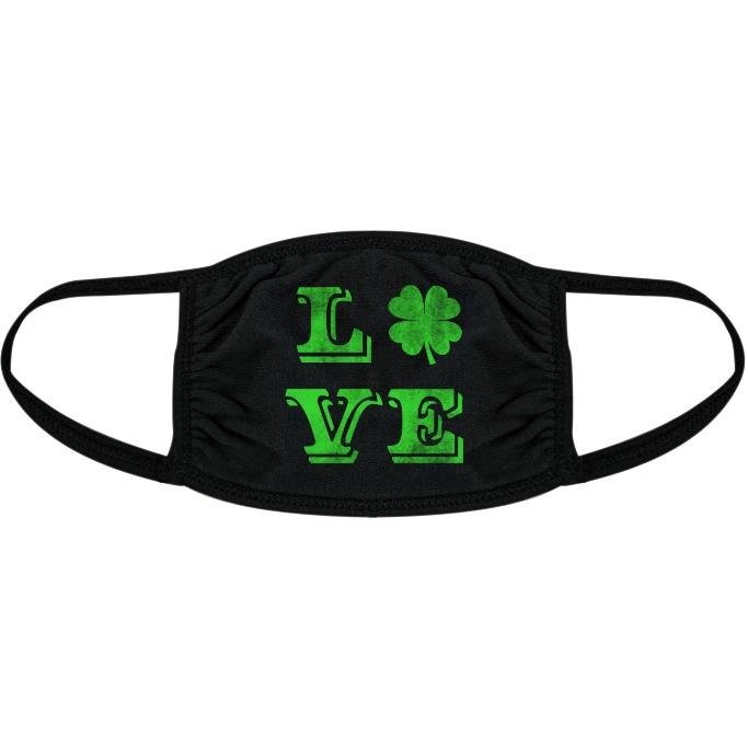 Crazy Dog T-Shirts Love Clover Face Mask, st patrick's day mask