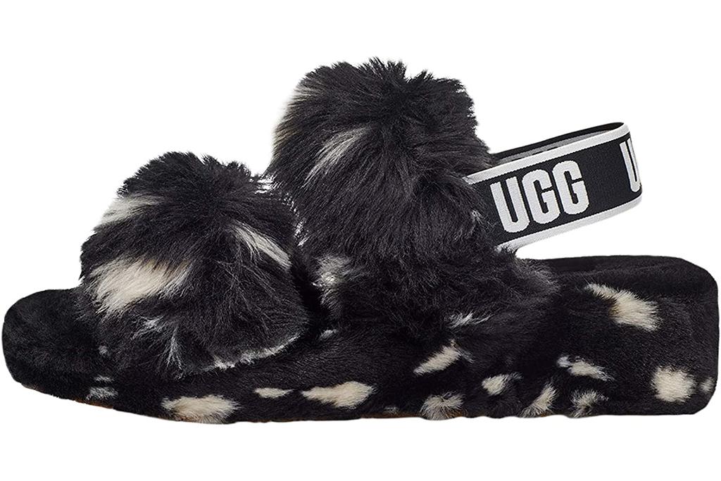 fluff yeah sandal, anya taylor-joy sandals, black and white fluff yeah slides
