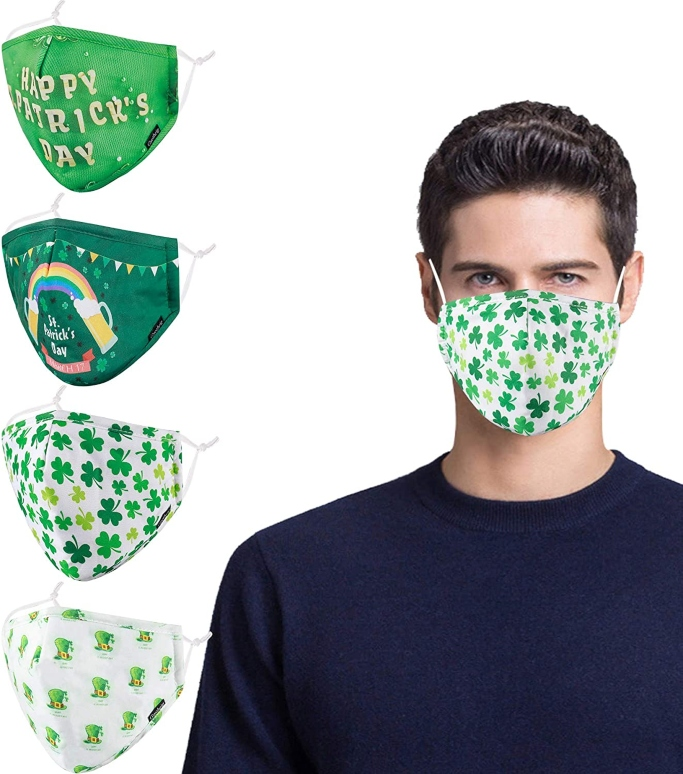 Gyothrig St. Patrick's Day Face Mask 4-Pack, st patrick's day face mask