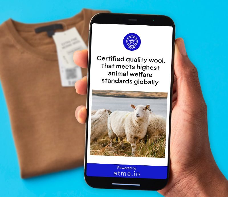 Atma.io app by Avey Dennison at work identifying the cotton of a tshirt