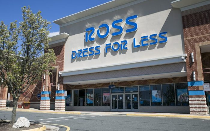 A logo sign outside of a Ross Stores retail store location in Stafford, Virginia on April 2, 2020. (Photo by Kristoffer Tripplaar/Sipa USA)(Sipa via AP Images)