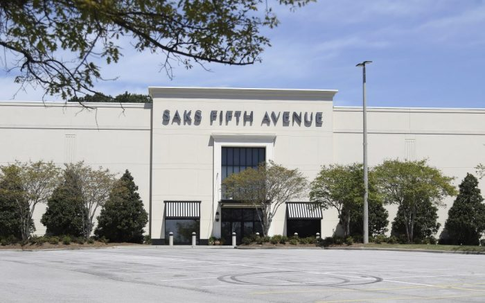 BIRMINGHAM, AL - APRIL 04: The Saks Fifth Avenue department store is closed in Birmingham, Alabama on April 4, 2020. All non-essential businesses are closed in Alabama as a result of the Coronavirus (COVID-19) pandemic. (Photo by Michael Wade/Icon Sportswire) (Icon Sportswire via AP Images)