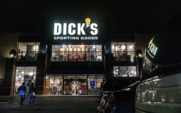 Customers walk into Dick's Sporting Goods during Black Friday. Shoppers go to stores to take advantage of Black Friday sales during the COVID-19 pandemic. (Photo by Stephen Zenner / SOPA Images/Sipa USA)(Sipa via AP Images)