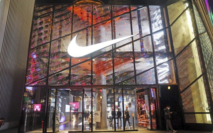 A smart sport field is installed inside the Nike NO.1 flagship store, which offers a fashion high-tech experience during the Christmas season in Shanghai, China, 12 December 2020.  (Imaginechina via AP Images)