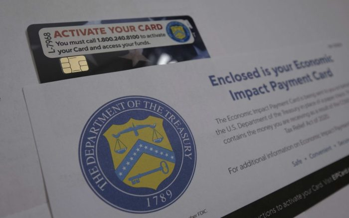 An Economic Impact Payment Card sent on behalf of the U.S. Department of the Treasury in place of a paper check for money received as a result of the COVID-related Tax Relief Act of 2020 pictured in Portland, Ore., on January 25, 2021. (Photo by Alex Milan Tracy/Sipa USA)(Sipa via AP Images)