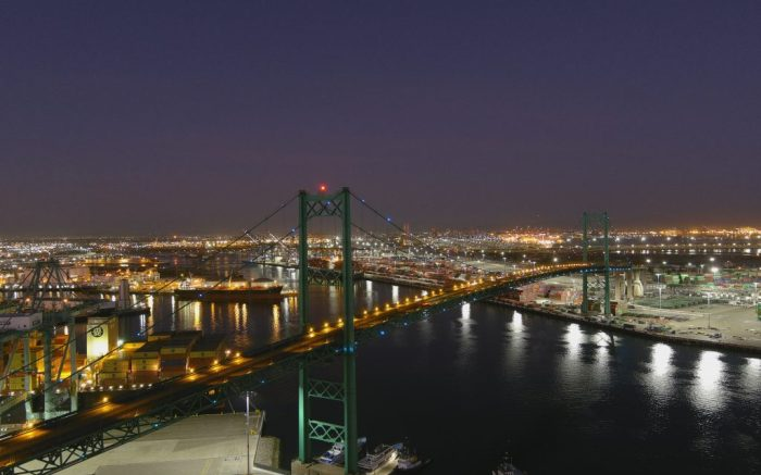 An aerial view of the Vincent Thomas Bridge, Sunday, Feb. 28, 2021, in San Pedro, Calif.