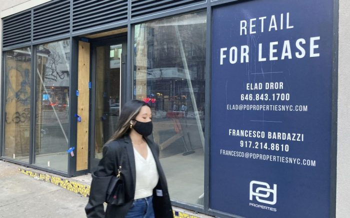 Photo by: STRF/STAR MAX/IPx 2021 3/9/21 Businesses continue to shutter in New York City in the wake of the Coronavirus Pandemic. Although cases are down, store closures are prevalent.