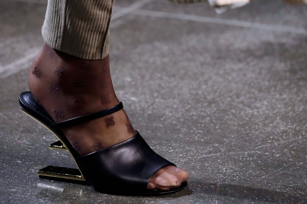 fendi, heels, f logo, mules