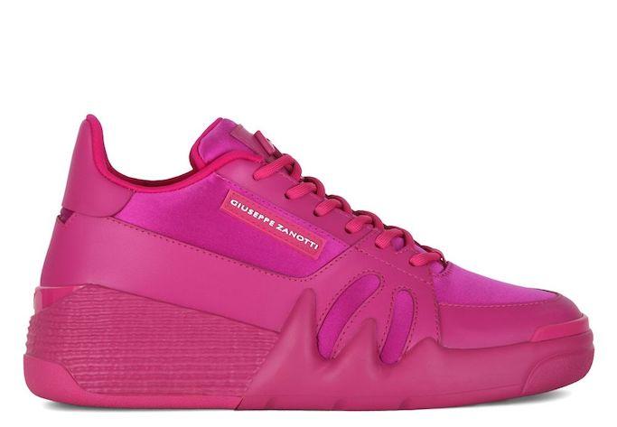 giuseppe zanotti, talon sneakers, hot pink sneakers, megan thee stallion