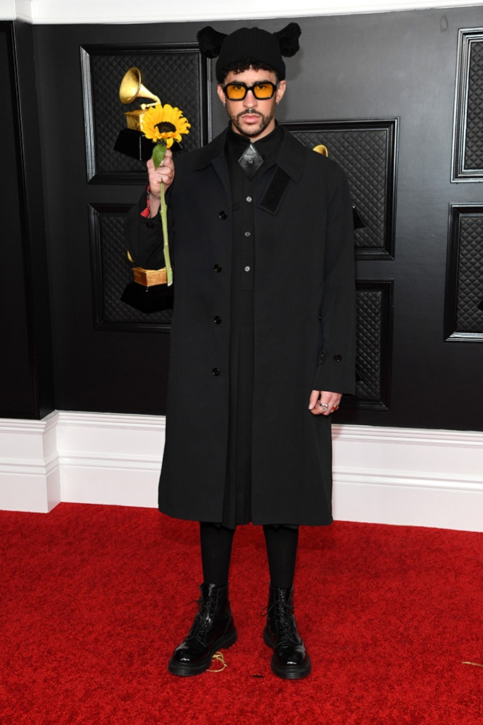 LOS ANGELES, CALIFORNIA - MARCH 14: Bad Bunny attends the 63rd Annual GRAMMY Awards at Los Angeles Convention Center on March 14, 2021 in Los Angeles, California. (Photo by Kevin Mazur/Getty Images for The Recording Academy )
