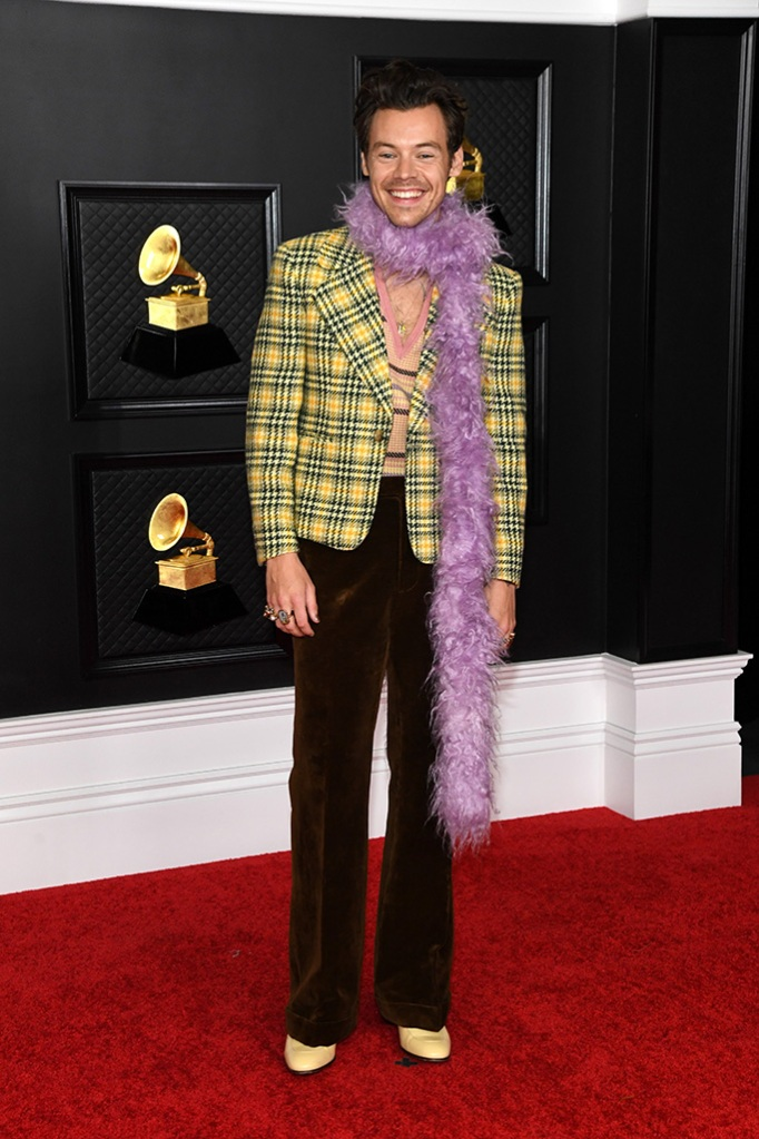 LOS ANGELES, CALIFORNIA - MARCH 14: Harry Styles attends the 63rd Annual GRAMMY Awards at Los Angeles Convention Center on March 14, 2021 in Los Angeles, California. (Photo by Kevin Mazur/Getty Images for The Recording Academy )