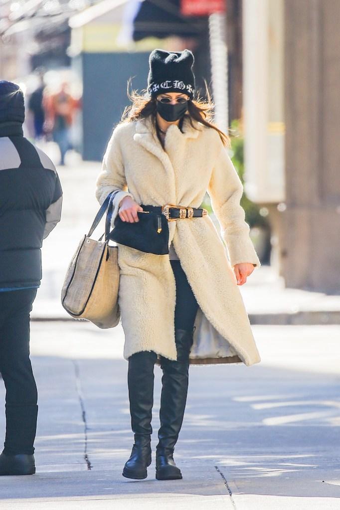 Irina Shayk, max mara, lug sole boots