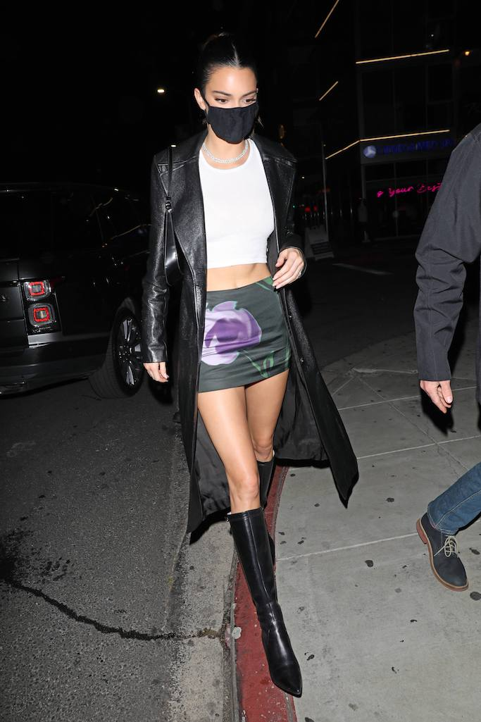 Kendall Jenner, Justin Bieber, album release party, leather trench coat, knee high boots