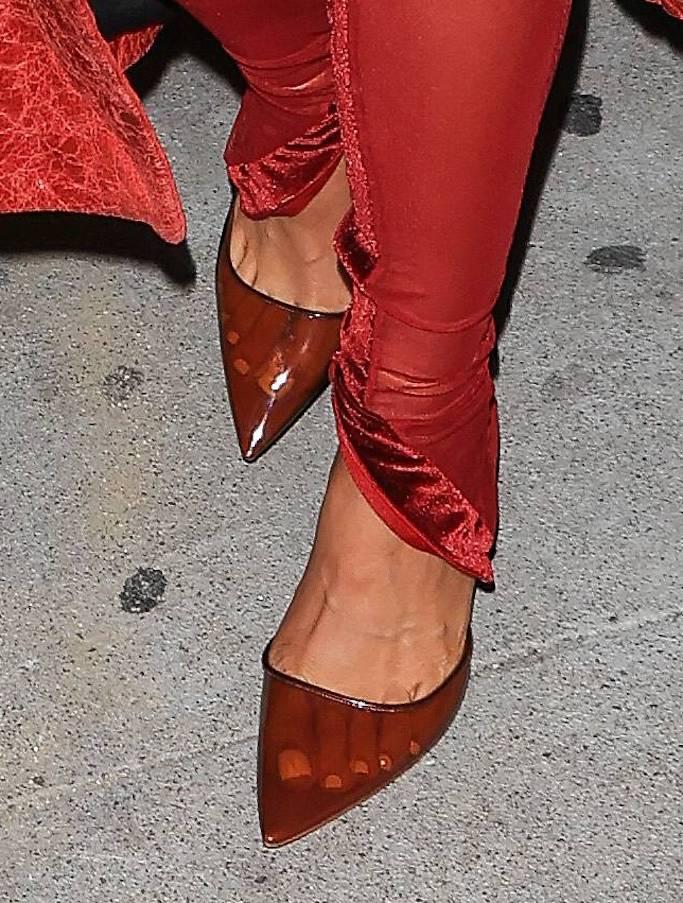 Kylie Jenner, red pumps. pvc heels, justin bieber, album release party
