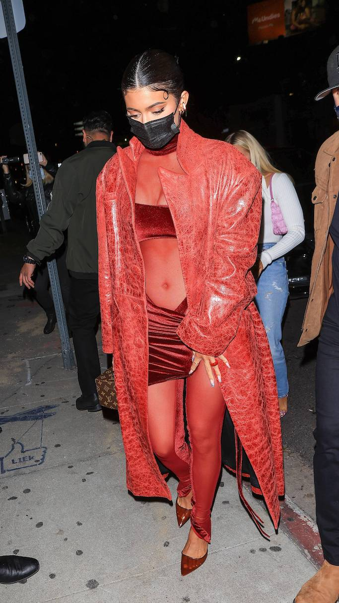 Kylie Jenner, Laquan Smith, Justin Bieber, album release party, leather trench, velvet mesh jumpsuit