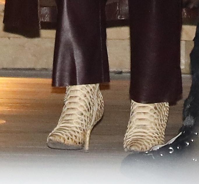 Kourtney Kardashian, Travis Barker, booties, brown leather trench, brown leather pants, nobu malibu