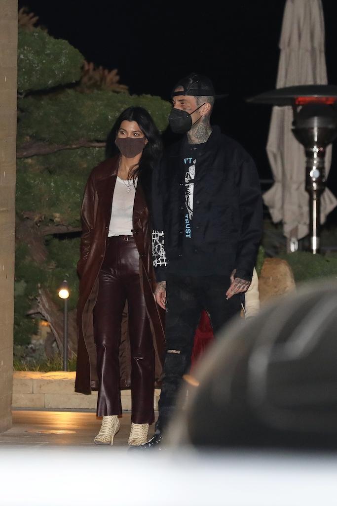 Kourtney Kardashian, Travis Barker, brown leather trench, brown leather pants, nobu malibu
