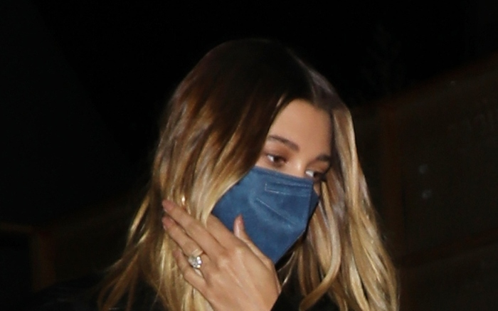 Hailey Bieber wears a black leather jacket with matching pants as she grabs dinner at LA hot spot Craig's