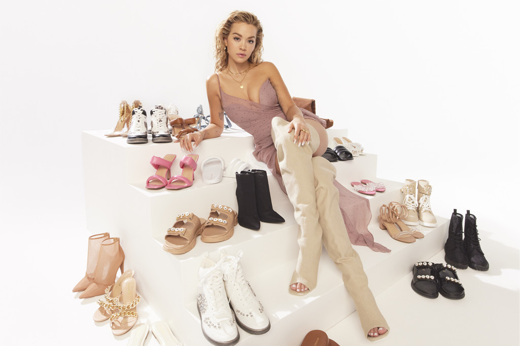 Rita Ora Flaunts Her Latest ShoeDazzle Collection in a Little Pink Dress & Wild Thigh-High Boots
