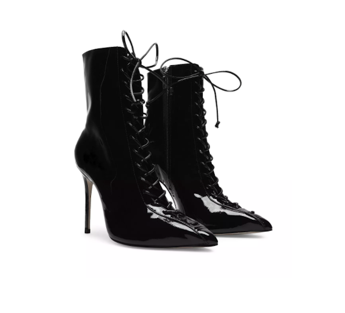 schutz booties, lace-up booties, black booties, addison rae