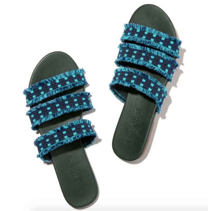 rothy's archive sale, the triple band teal blue fringe
