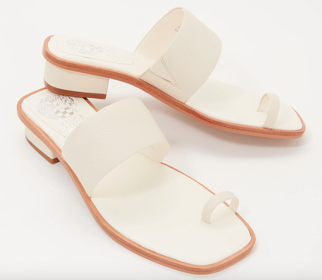 white sandals, loop toe, vince camuto