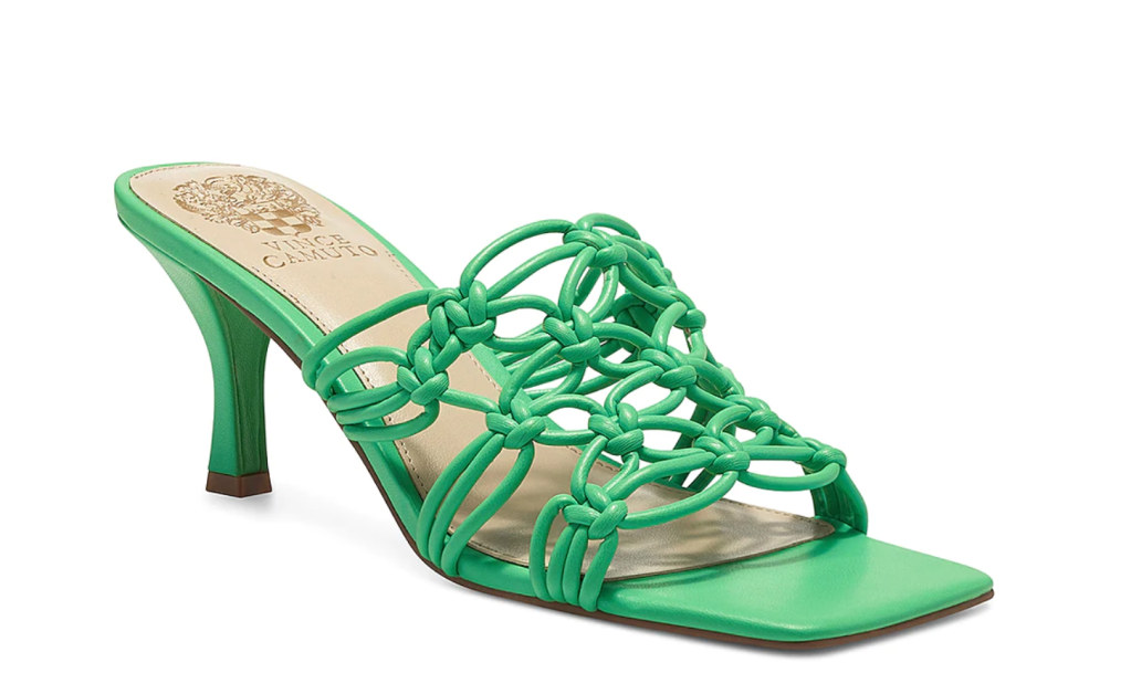 vince camuto, green heels, mules