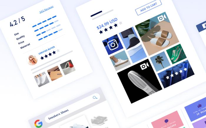 Screenshots of ecommerce marketing on smartphone by Yotpo