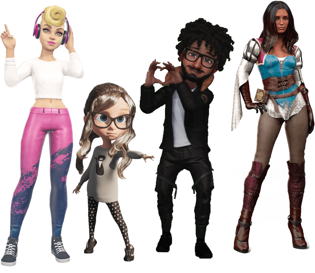 Four sample avatars made by Tafi for online use
