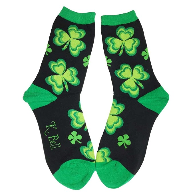green socks, st. patrick's day, shamrock socks, k.bell socks
