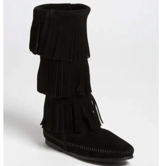 minnetonka 3-layer fringe boot, black boots for women