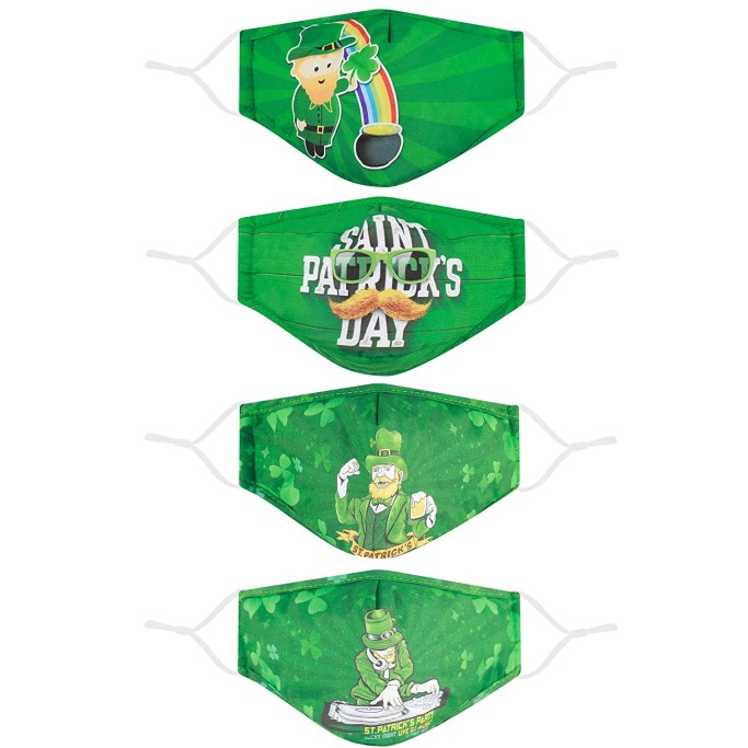 Woplagyreat Face Mask 4-Pack, st. patrick's day face masks