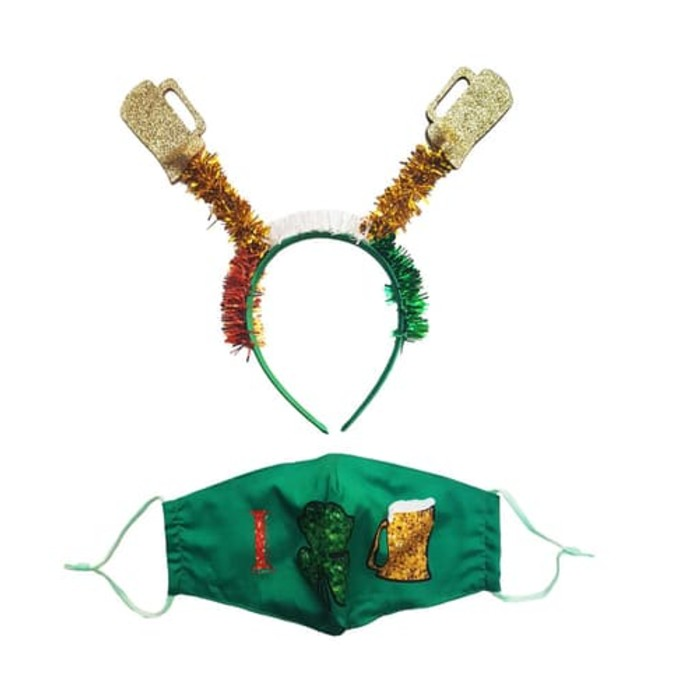 Berry Let's Get Shamrocked Headband & Mask Set, st. patrick's day face mask