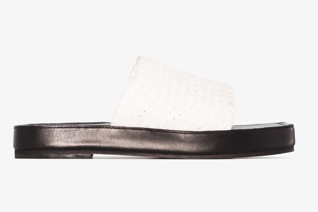 St. Agni White Jax Woven Leather Sandals, spring sandals