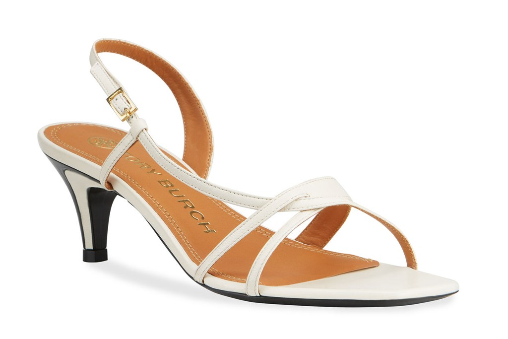Tory Burch Strappy Leather Kitten-Heel Thong Sandals, spring sandal trends