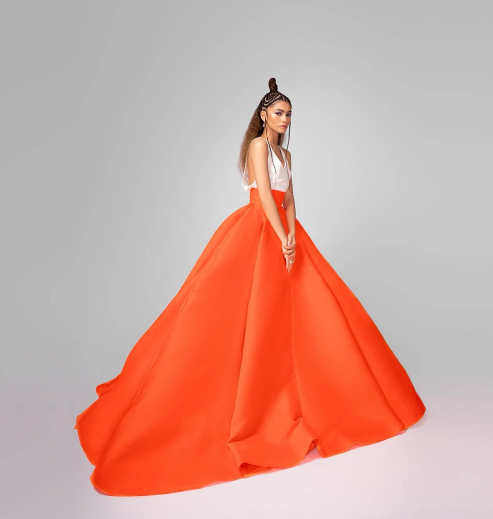 zendaya, valentino, orange skirt, critics choice awards 2021, dress