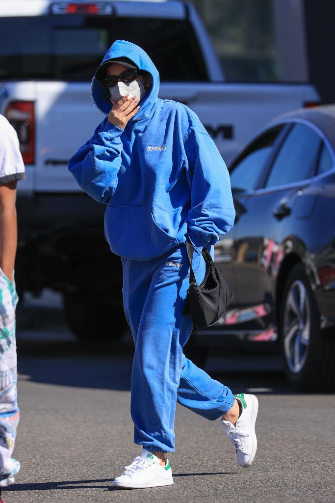 Addison Rae, blue hoodie, blue sweats, adidas sneakers