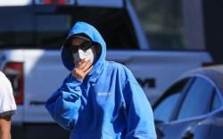 addison rae, blue sweatsuit, adidas sneakers