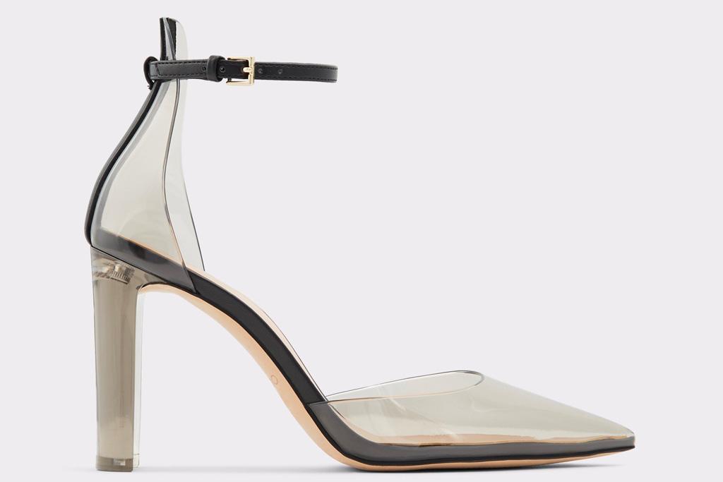 clear heels, pointed toe, aldo