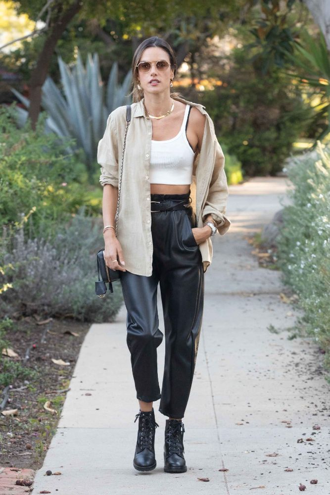 alessandra ambrosio, crop top, jacket, leather pants, combat boots, shirt, los angeles, out