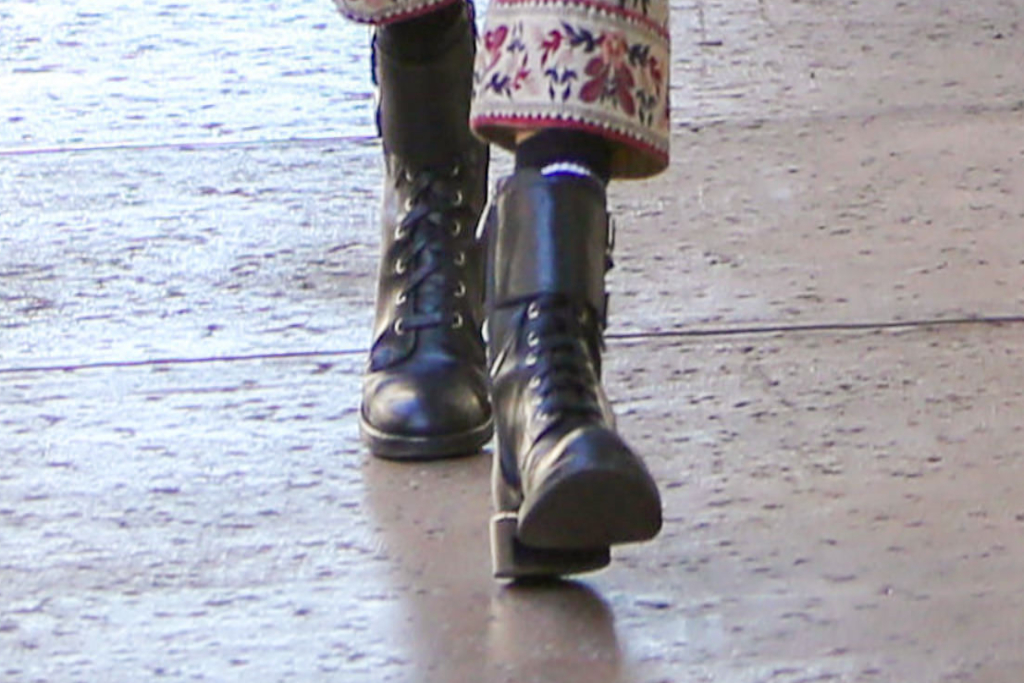 Alessandra Ambrosio, black combat boots, los angeles