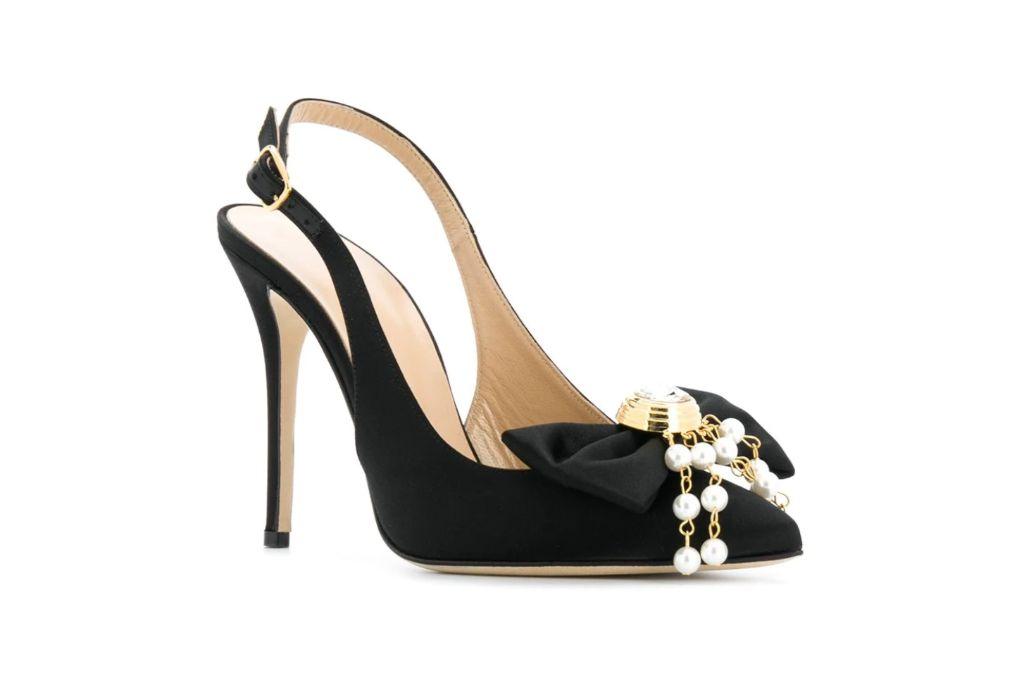 Alessandra Rich, Slingback Bow Detail Pumps, beyonce, black heels