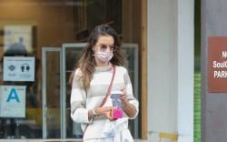 alessandra ambrosio, striped sweater, wide-leg pants,