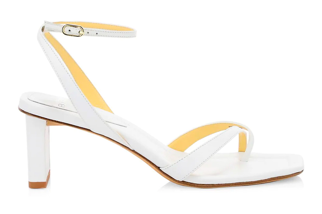 white sandals, loop toe, alexandre birman
