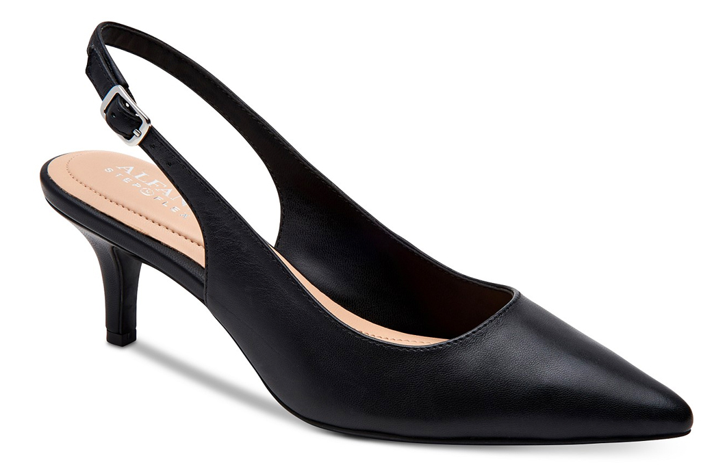 black heels, pumps, slingback, alfani