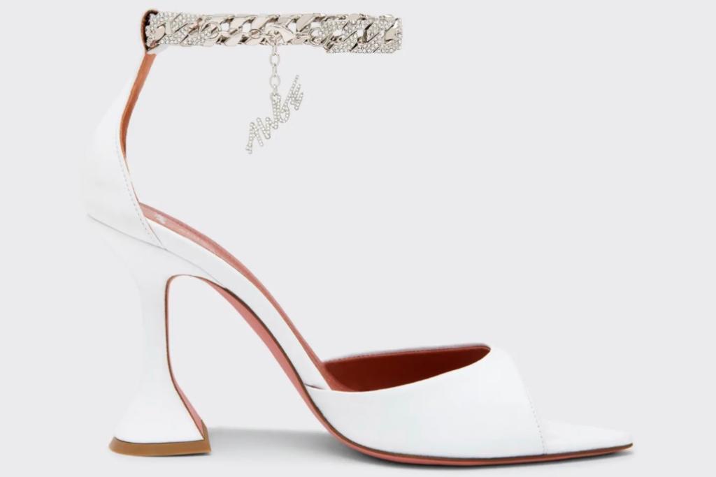 Amina Muaddi, Amina Muaddi x AWGE Flacko Napa Sandals, White Heels