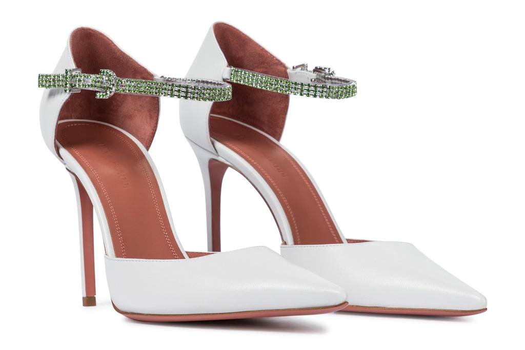 amina muaddi, heels, cyrstal, white, green